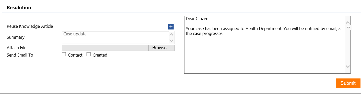 Government Officers can give case updates to citizen directly